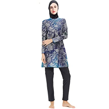 ee62d54e0f Amazon.com  Women Muslim Swimwear Full Coverage Islamic Modest Swimsuit 3  Pieces with Hijab Muslim Sun Protection Swimsuits Burkini  Clothing