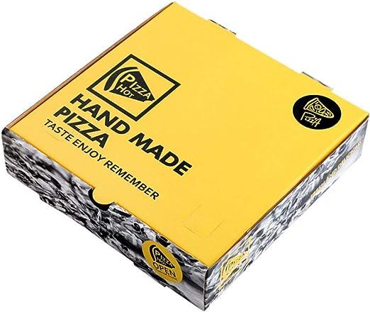 FGSJEJ Plegada Caja de Pizza Amarillo, Caja de Embalaje for Llevar, Caja de envasado de Alimentos Corrugado, Caja de Pizza desechable, Caja de Embalaje, 6/7/8/9/10/12 Pulgadas, 100 PC: Amazon.es: Hogar