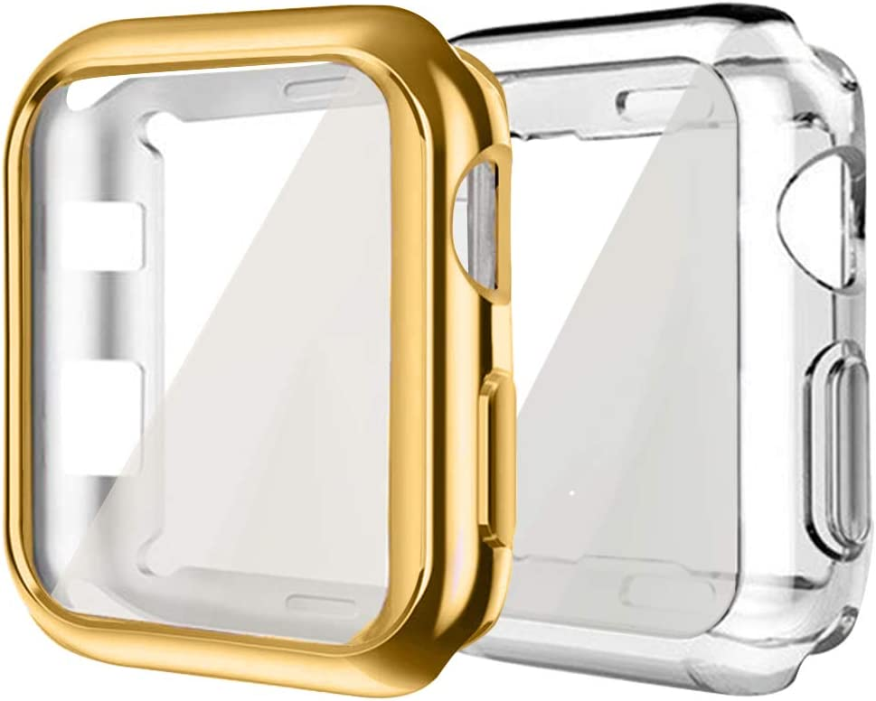 Compatible with Apple iWatch Case 38mm, hd Clear Ultra-Thin Screen Protector TPU All-Around Full Front Protective Case Cover Compatible for Apple Watch Series 3 Series 2 (2Pack-Gold + Clear, 38mm)