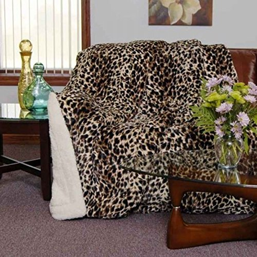 20 Lakes Cheetah Animal Print Jungle Safari Sherpa Throw Blanket- Queen / Full