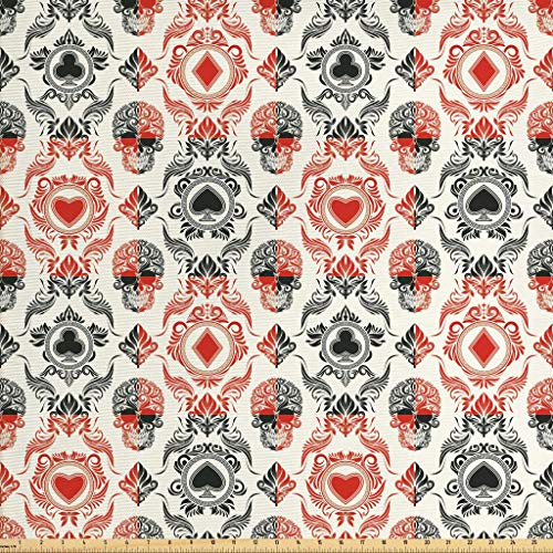 Lunarable Skull Fabric by The Yard, Playing Card Themed Skeleton Head Ace of Spades Diamonds Hearts Victorian, Decorative Fabric for Upholstery and Home Accents, 2 Yards, Vermilion Black Cream