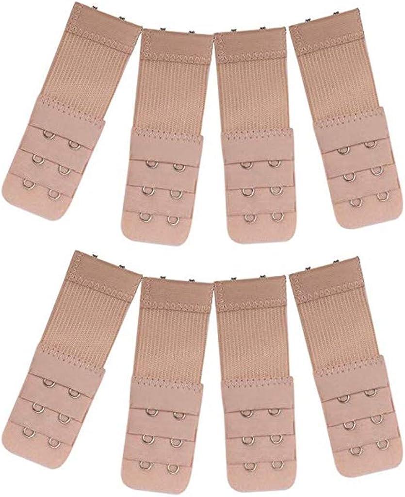 8 Pieces Skin WJood Store Bra Extender Brassiere Extension Hooks 2 Hooks 3 Rows,Bra Strap Extensions