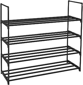 DazHom 4-Tier Shoe Rack, Shoe Racks Storage Organizer Closet, Metal Cabinet Stackable Shoe Rack Tower, Space Saving Organizer Shoe Shelf Durable Holds 20 Pairs, Black