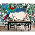 Amazhen Silk Mural Custom Children Room Wall 3D Wallpaper Hand-Painted Tropical Rainforest Plant Parrot Background Wall Paper Murals