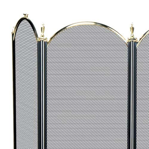 (Import 4 Fold Polished Brass Arched Fireplace Screen - S41010Pb - S41010PB)