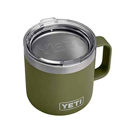 YETI Rambler 14 oz Stainless Steel Vacuum Insulated Mug with Lid, Olive Green best gifts for hunters
