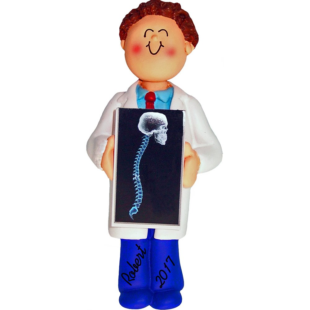 Chiropractor/X-Ray Tech Personalized Christmas Ornament - Male - Brown Hair - 4'' tall - Handpainted Resin - Free Customization by Calliope Designs