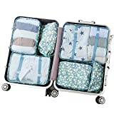 Arxus 6 Set Packing Cubes Travel Luggage Waterproof Organizers (Flower Print)