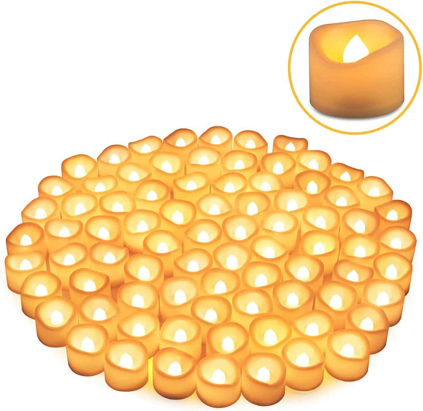 80 Packs LED Flameless Flickering Candles, Kohree Tea Lights Candles Battery Operated Votive Candles, Flickering Tealight Candles for Garden Wedding,Party, Christmas Decorations, Warm White