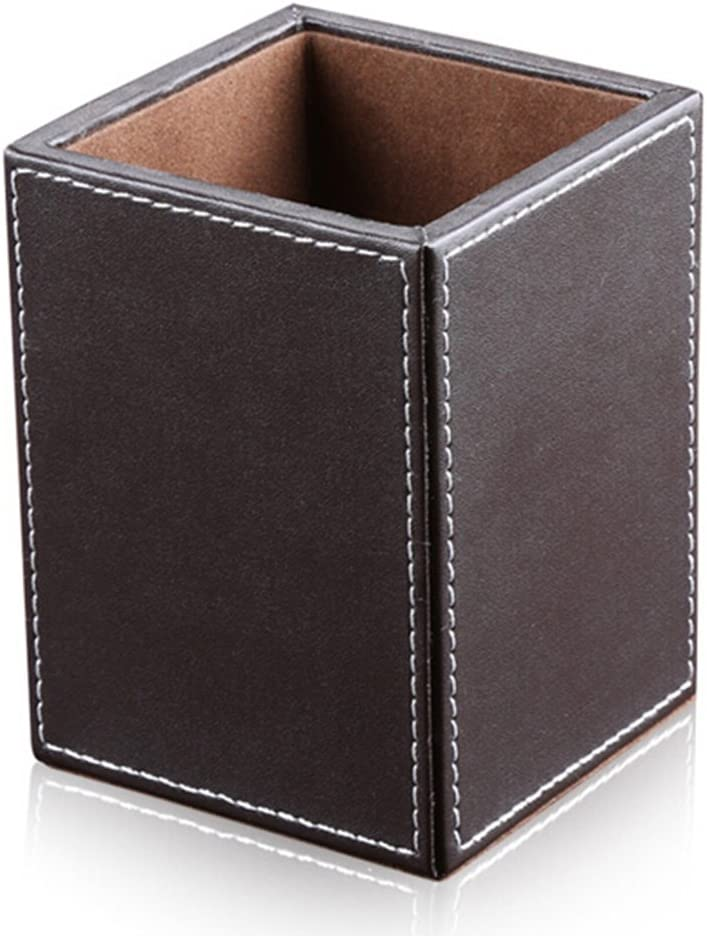 KINGFOM PU Leather Square Pens Pencils Holder Cup Desktop Stationery Organizer Case Office Accessories Container Box Brown