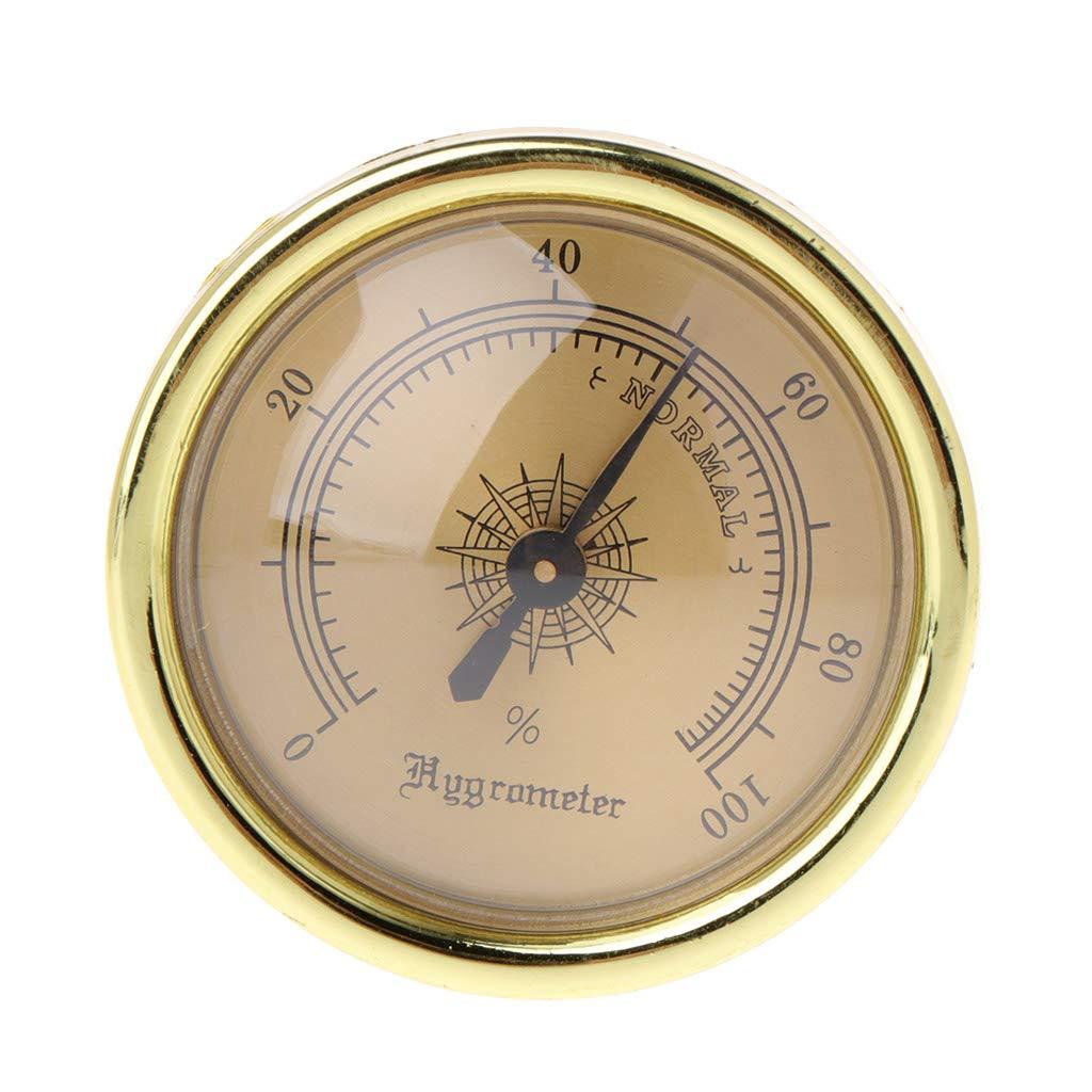 Yuayan Cigar Smoking Measure Hygrometer Humidity Moisturizing 45mm Round Gold Measuring
