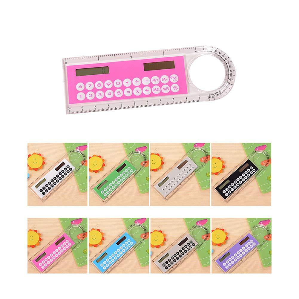 Tofree 10cm mini calcolatrice e righello calcolatrice Fashionable Student Stationary multifunzionale portatile calcolatrice colore casuale