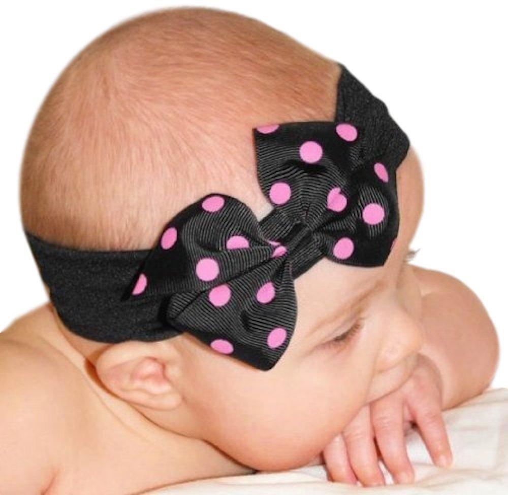 Amazon.com  Baby Girls Polka Dot Pinwheel Bow Headband (Black Band Black    Hot Pink Bow)  Infant And Toddler Hair Accessories  Clothing 055a71b3f16