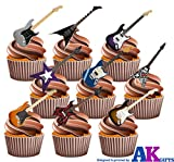 AKGifts Electric Guitar Party Pack Mix - Edible Stand-up Cupcake Toppers (pack of 36) (7 - 10 BUSINESS DAYS DELIVERY FROM UK)