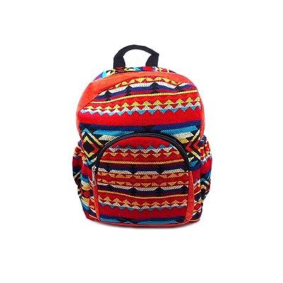 Aztec Tribal Striped Pattern Small Padded Travel School Adjustable Backpack Purse Bag Zipper Pocket & Water Bottle Holder (Orange/Red/Light-Yellow)   Kids' Backpacks