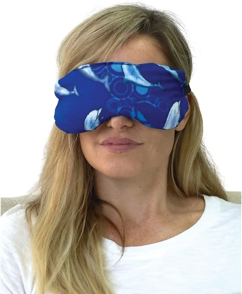 Lavender Eye Pillow for Yoga and Natural Relaxation - Natural Hot and Cold Eye Mask (Blue Dolphin)