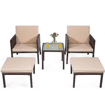 Amazon.com: EnjoyShop - Juego de 5 sillas de mimbre otomanas ...
