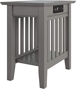 "Atlantic Furniture Mission End Table, Chair Side (22"" x 14""), Grey"