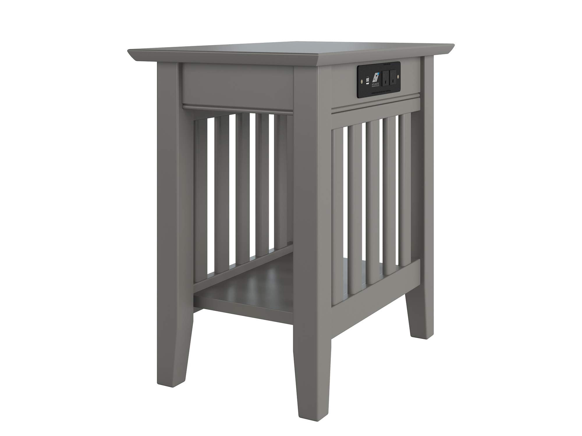 Atlantic Furniture AH13219 Mission Chair Side Table with Charging Station, Grey by Atlantic Furniture