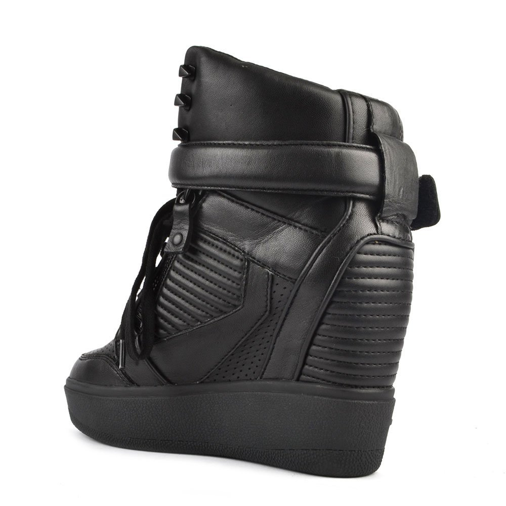 f7ab28b62a1aa Ash Footwear Ashes Black Leather Wedge Trainer 41EU 8UK Black   Amazon.co.uk  Shoes   Bags