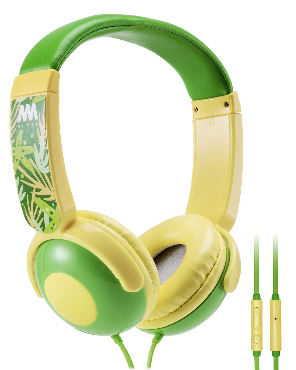 Kids Headphones, Mumba Volume Limited Over Ear Headphones Girls, 85 Safe Listening Adjustable Headsets with Microphone for Kids Children Yellow