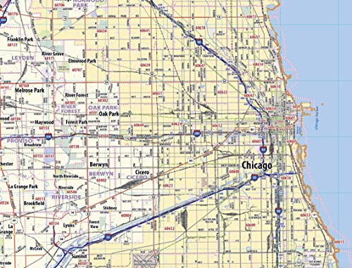 Chicago Metro Area Laminated Wall Map (42''x54'') | Access FC on