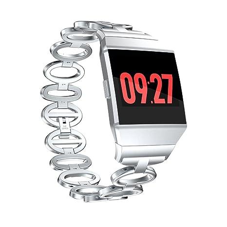 Para Fitbit Ionic reloj elegante banda de reemplazo, Y56 moda lujo acero inoxidable reloj banda