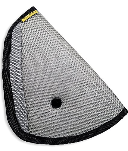 Seat Belt Adjuster, Car Safety Cover Strap Adjuster Pad Harness, Comfortable Protection for Adult Children Keep Belt Away From Neck and Face, Made of Air Mesh Fabric (Premium Luxuries Grey)