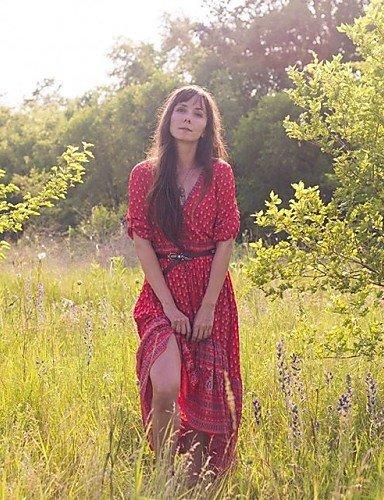 PU&PU Robe Aux femmes Swing Décontracté / Mignon Col en V Asymétrique Coton , red-l , red-l
