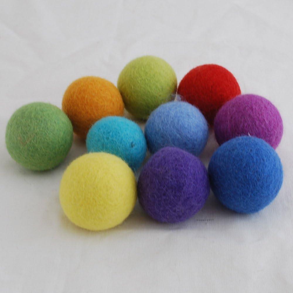 Oriental Direct 10 Felt Balls Rainbow Colours Handmade 4cm 100/% Wool
