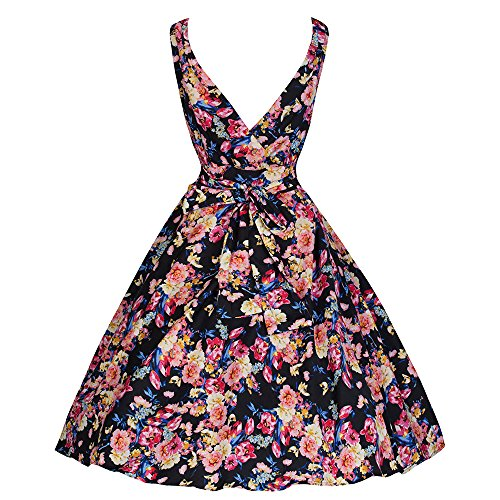 Pretty Kitty Fashion 50s multifloral noir Robe