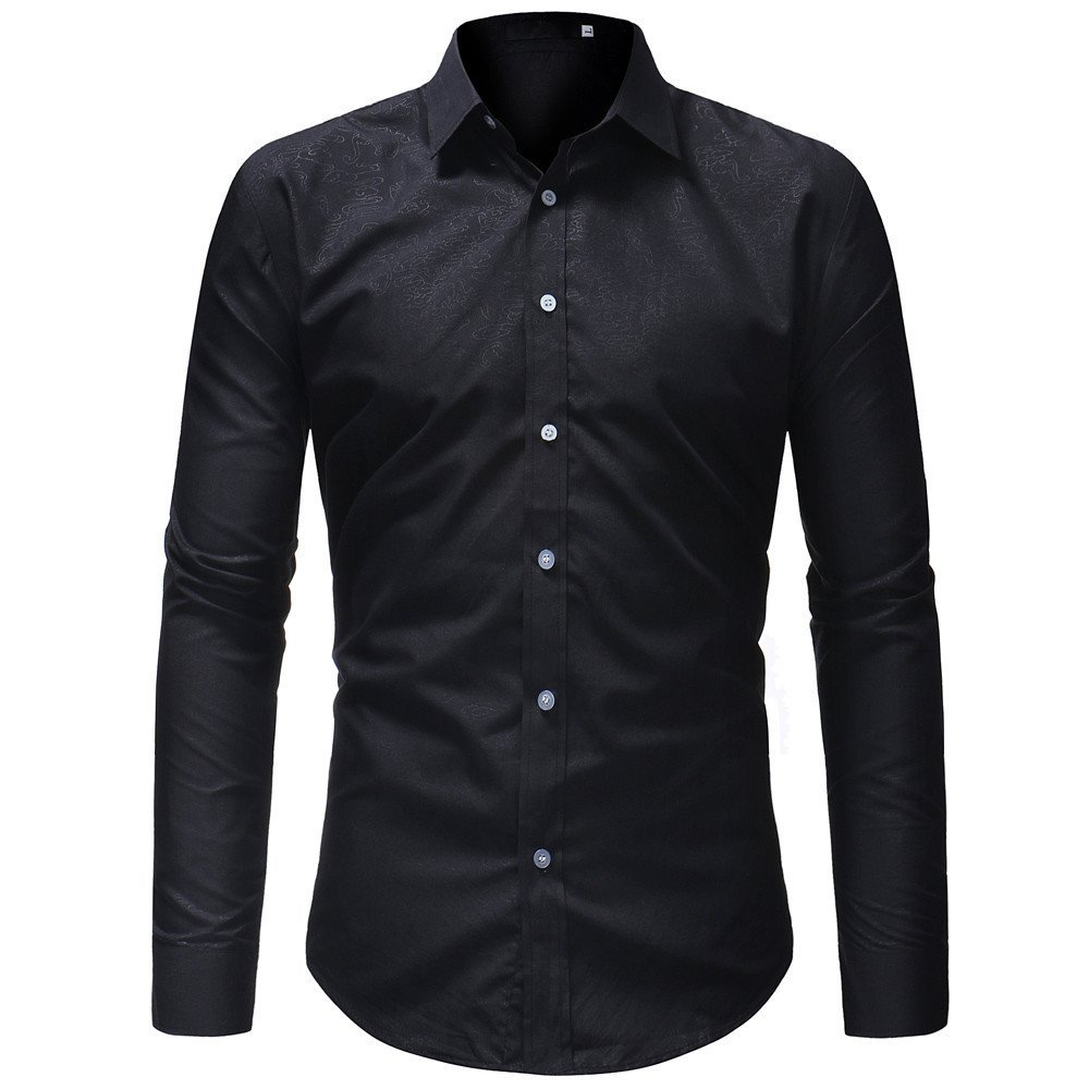 Men's Shirt  -Clearance Sale!! Farjing Men Shirt Fashion Solid Pure Color Joint Male Casual Long Sleeve Shirt (XL,Black)