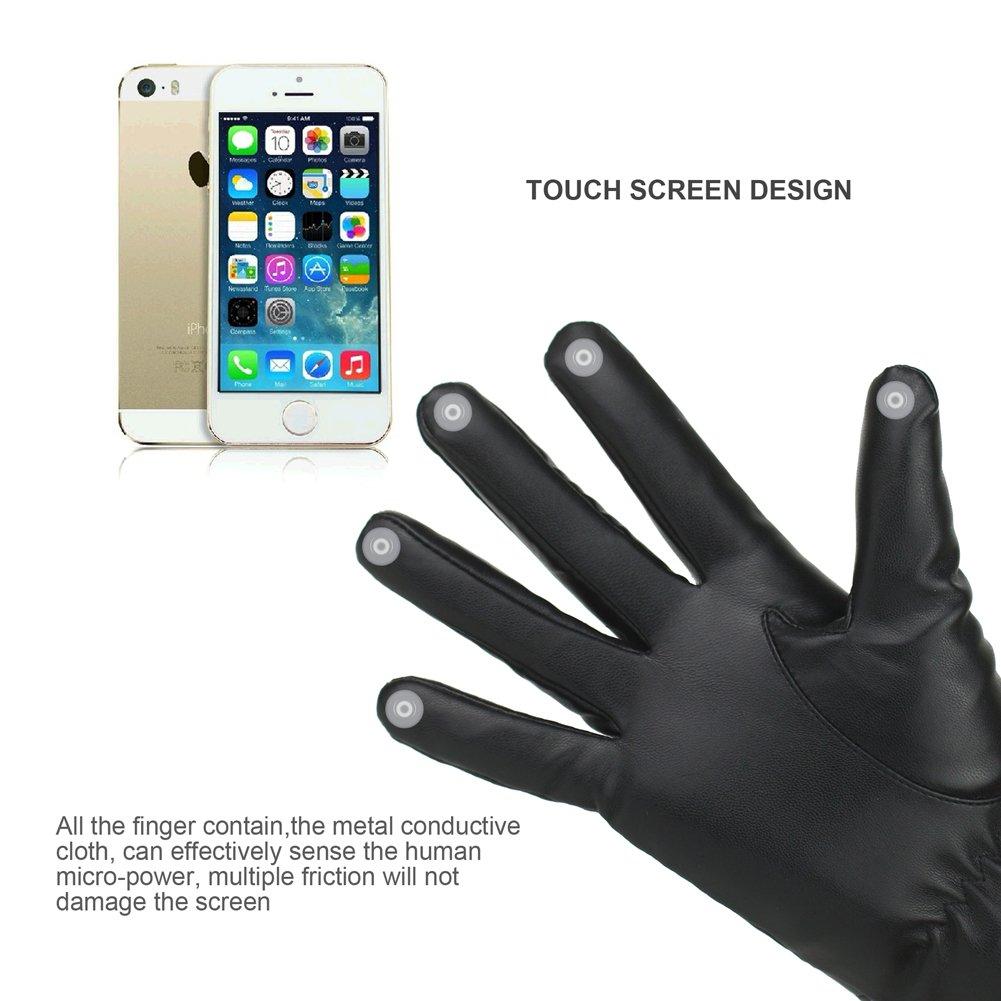 Guantes de piel con forro polar para mujer ideales para conducir o utilizar con pantallas t/áctiles Negro negro M