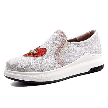 Zapatos de gran tamaño Zapatos de pequeño tamaño Primavera y verano Nuevos zapatos casuales de mujer Zapatos inferiores gruesos Mocasines deportivos Código ...