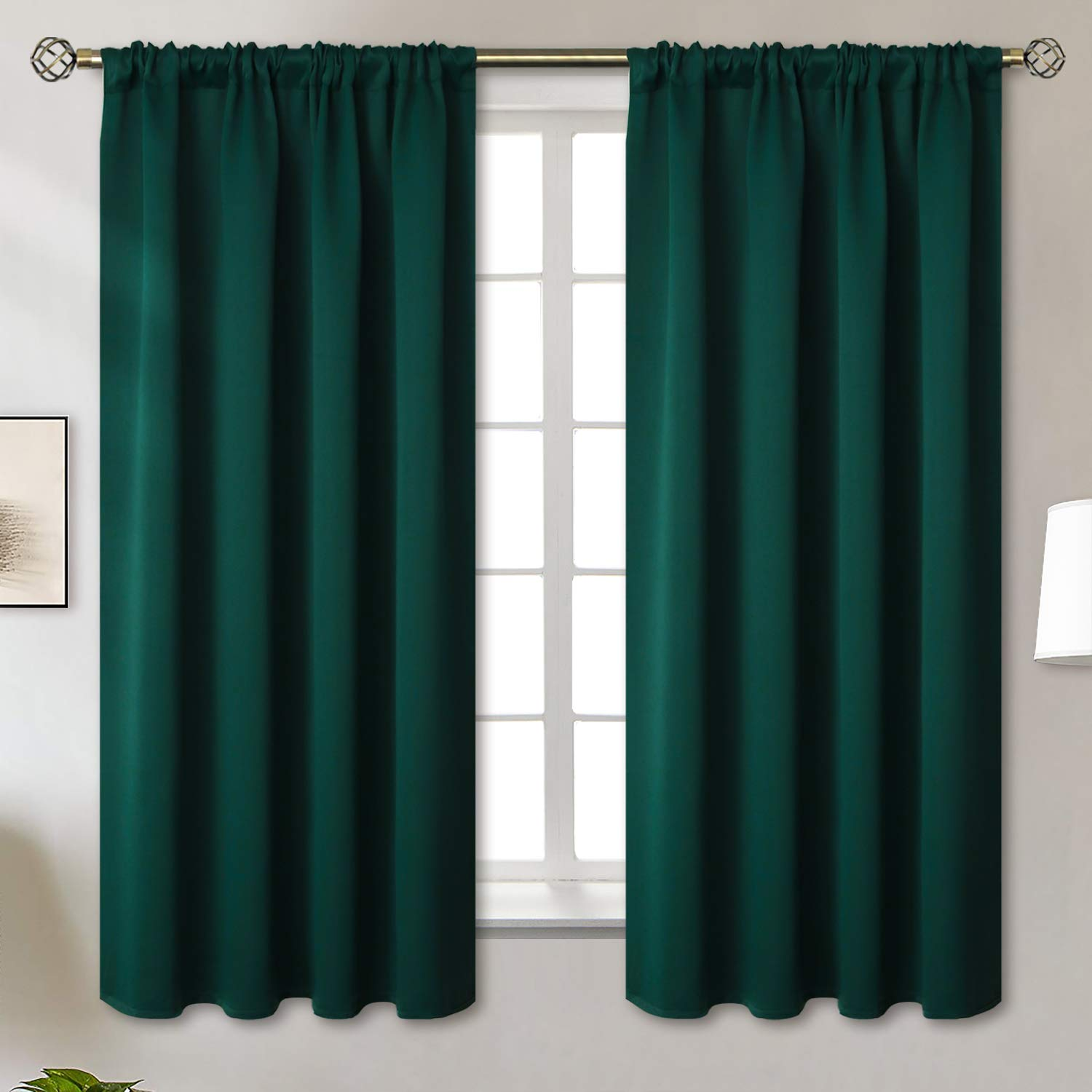 BGment Rod Pocket Blackout Curtains for Bedroom - Thermal Insulated Room Darkening Curtain for Living Room, 52 x 63 Inch, 2 Panels, Emerald