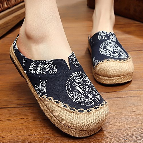 Mule Slipper Espadrilles Navy Toe Sandals Unisex Round Blue Shoes Slide Linen fereshte xFw18qw