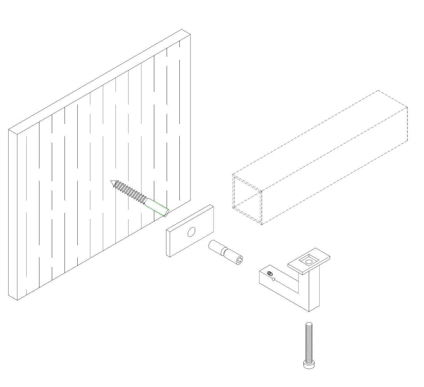 Stainless Steel Handrail Wall Bracket Square for Flat Bottom Tube
