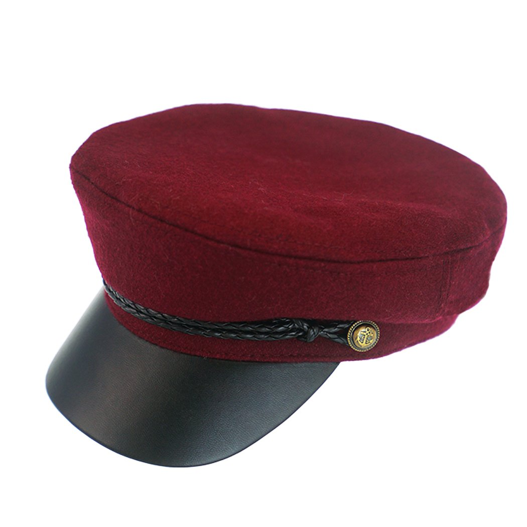 Flat Top Hat -100% Wool Army Cap Tweed Newsboy Caps Solid Color with Leather Brim Black/Wine Red for Boys,Unisex (Wine Red)