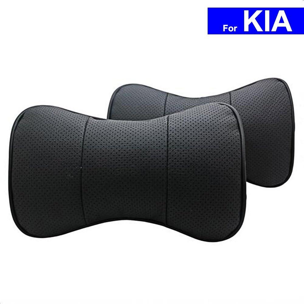 Black, No Logo AutoSunShine Genuine Leather Bone-shape Car Seat Neck Rest Headrest Comfortable Pillow Cushion Universal