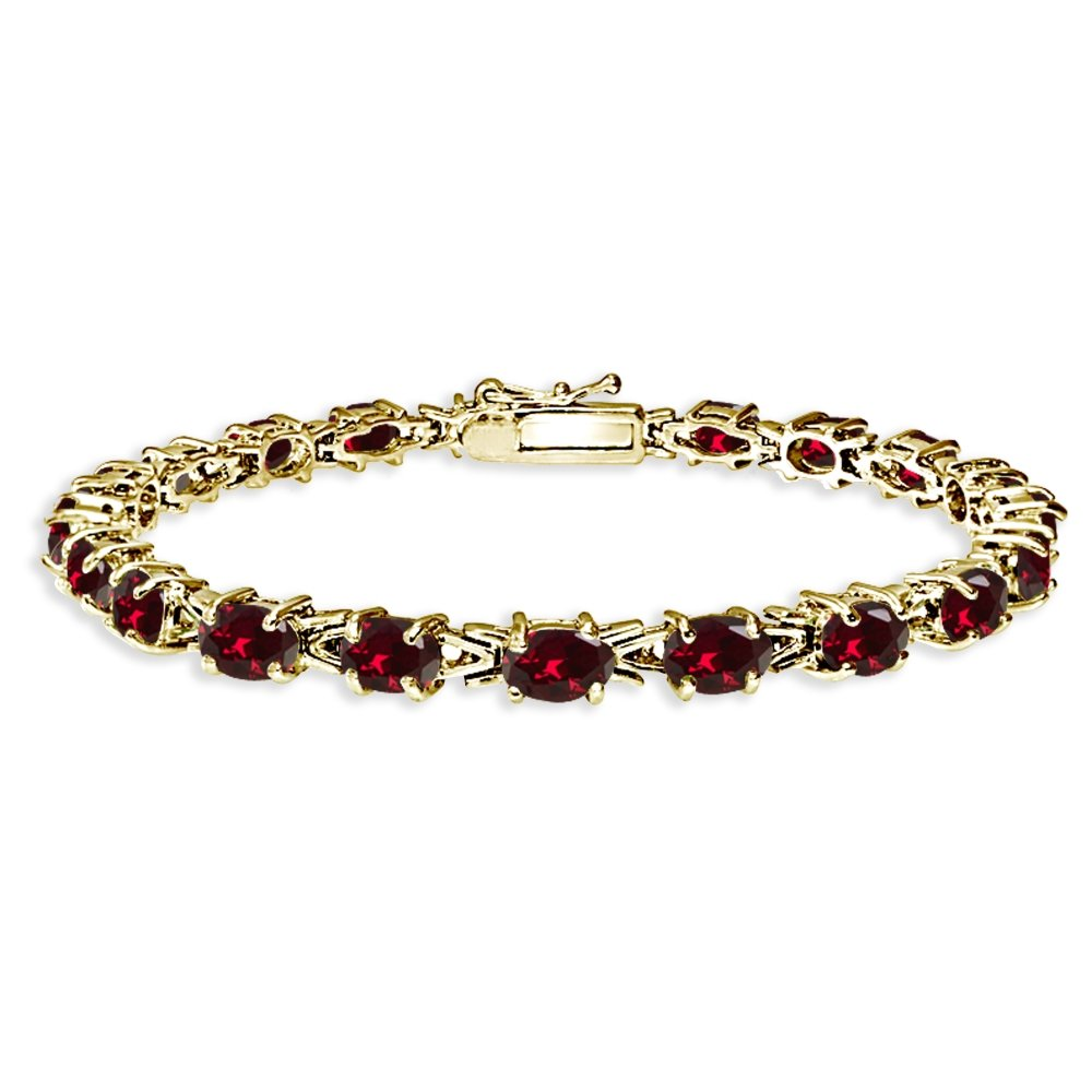 Yellow Gold Flashed Sterling Silver Polished Created Ruby 6x4mm Oval-cut Link Tennis Bracelet