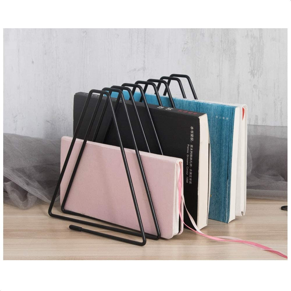 Organizer Sections Triangle Bookshelf Newspaper - Files Folder Stand Desktop Elasticity Iron Rack Sorter Eye-catching Decoration for Indoor Office Home Fashion Photography Props (Black)