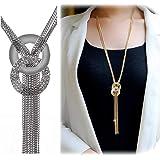 Kikole Women's Crystal Jewelry Tassel Pendant Long Chain Necklace Statement Sweater Necklaces