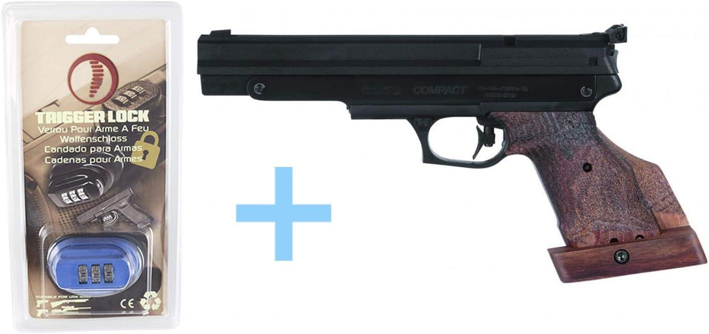 Gamo Pack Pistola Aire Precomprimido para Zurdos (CO2) Compact. Pistola de plomos, 4,5 mm, Potencia 3 Julios, Disparador de Dos Tiempos Regulable, Pistola balines + Candado de Seguridad Yatek.