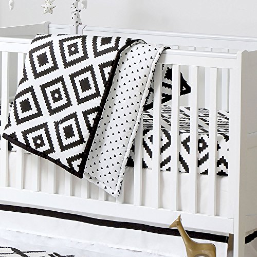 Black and White Tile Print 3 Piece Baby Crib Bedding Set by The Peanut - Square Valance Comforter