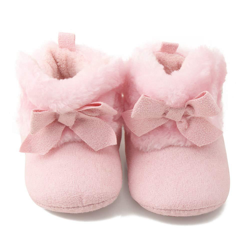 Polwer Baby Crib Shoes Winter Prewalker Boy Girl Winter Warm Bowknot Snow Boots