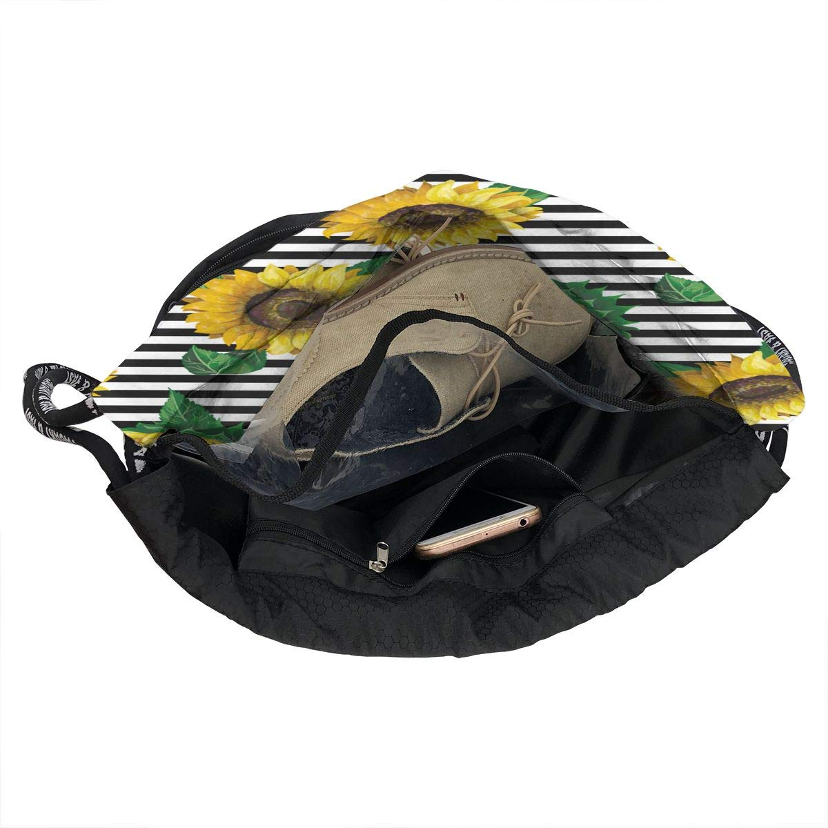 Sunflowers On A Ribbon Beam Mouth Drawstring Backpack Waterproof Shoulder Strap Leisure Backpack Portable Gym Bag