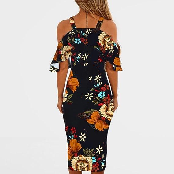 Ba Zha Hei de Vestido Estampado de Mujer | Vestido de Mujer | Falda Negro Vestido | Elegante de Noche para Boda Fista | Vacaciones Largo | Vestido de Coctel ...