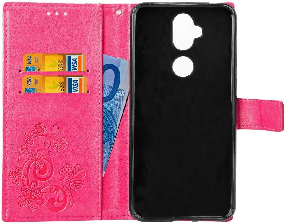 HMTECHUS Asus ZenFone 5Q ZC600KL case Embossed Floral Card Slots Magnetic Flip Shockproof PU Leather Wallet Slim Protect Cover for Asus ZenFone 5 Lite ZC600KL Stylus Pen Lucky Clover:Gray XD