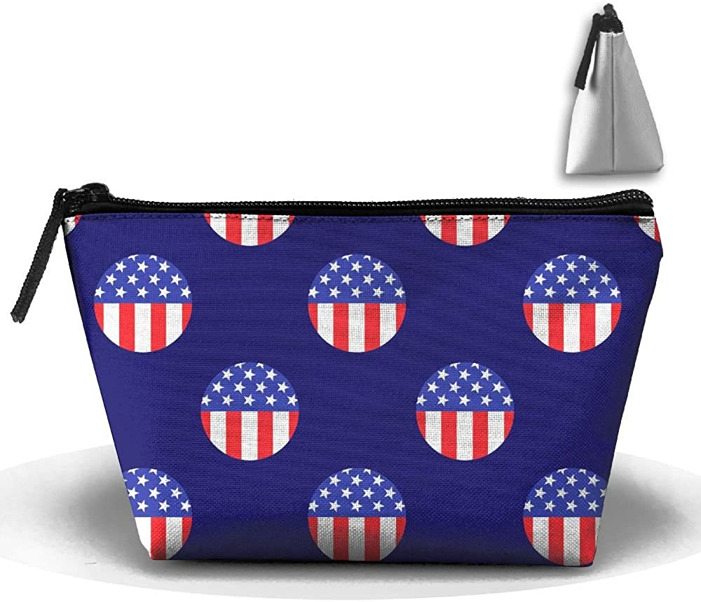 American Flag Multifunction Portable Pouch Trapezoidal Storage Travel Bag