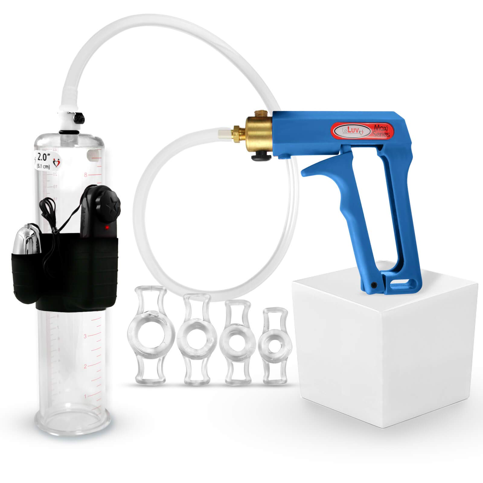 LeLuv Maxi Blue Vibrating Penis Pump Bundle with 4 Sizes of Constriction Rings 9 inch x 2 inch Cylinder